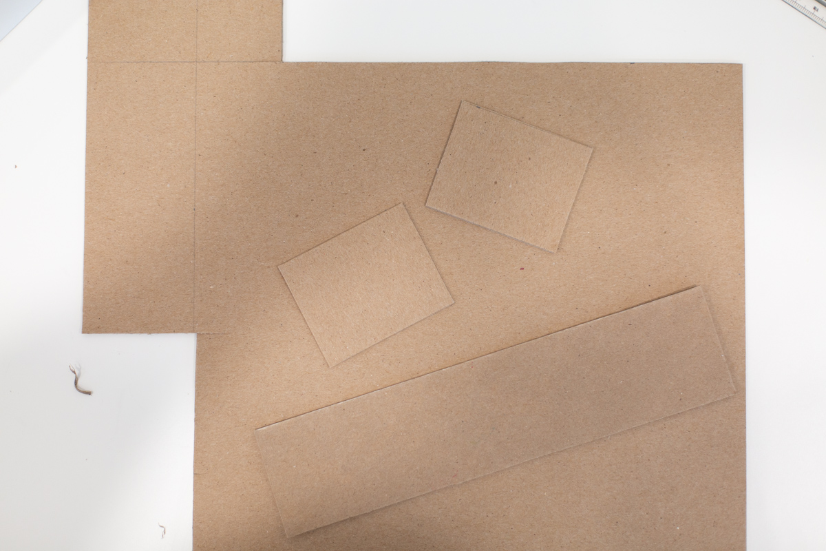 Cut chipboard for DIY pencil box