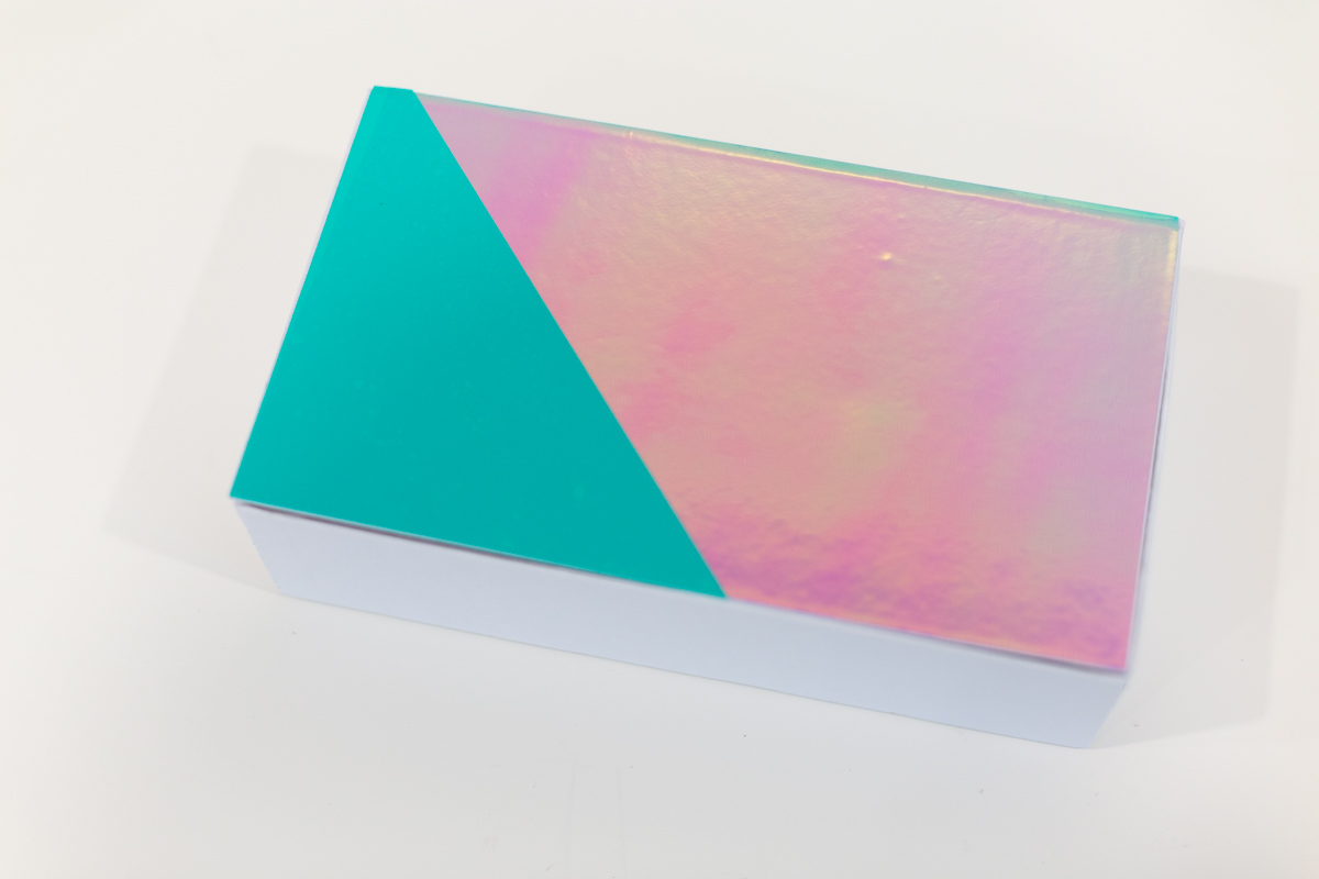 Pencil box with decorative vinyl