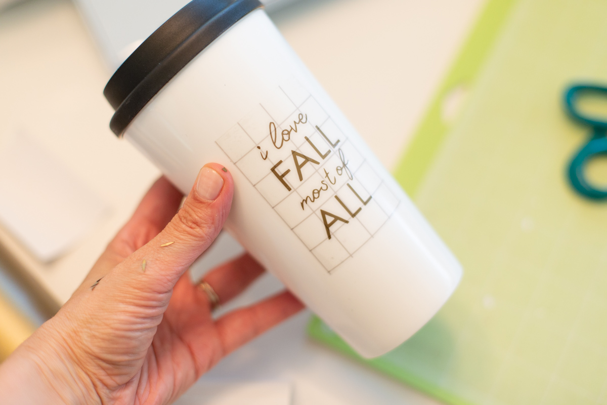 Vinyl transfer tape on travel mug