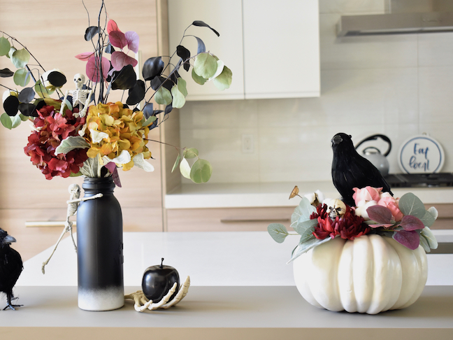 How To Transform Fall Flower Arrangement To A Spooky Boo-quet