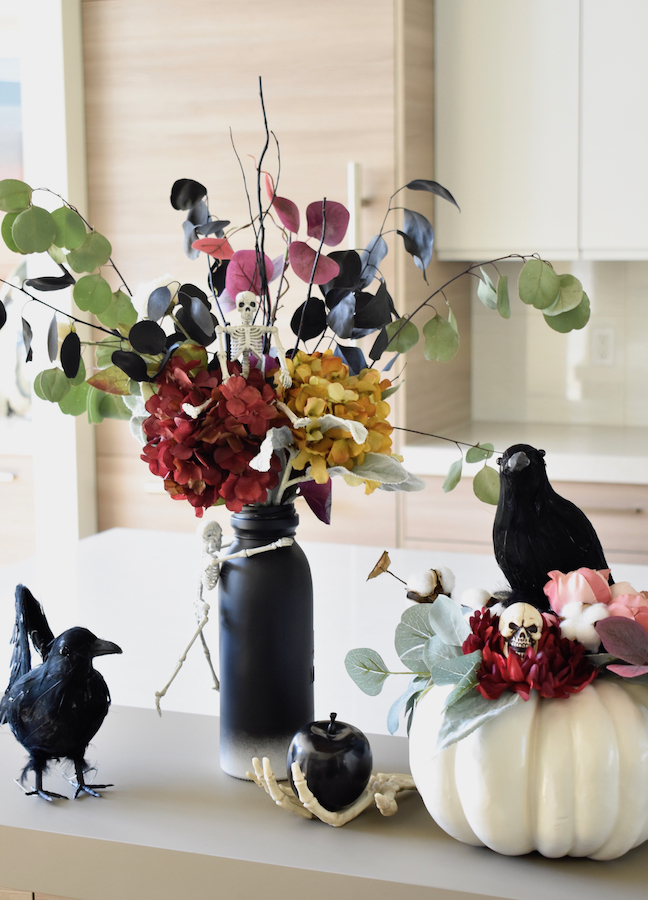How To Transform A Fall Flower Arrangement To A Spooky Boo-quet