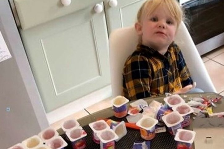 3-Year-Old Eats 18 Cups of Yoghurt While Dad's Back Is Turned