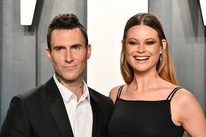 Adam Levine & His Daughters Wear Matching Sundresses In A Family Photo
