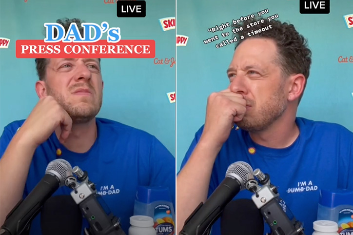 Dad's Hilarious Press Conference About a Day With Kids Is Spot On