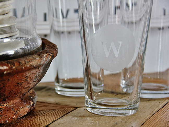 Etched Monogram Glasses