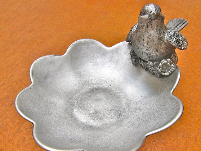 Faux Silver Bird and Flowers Pedestal