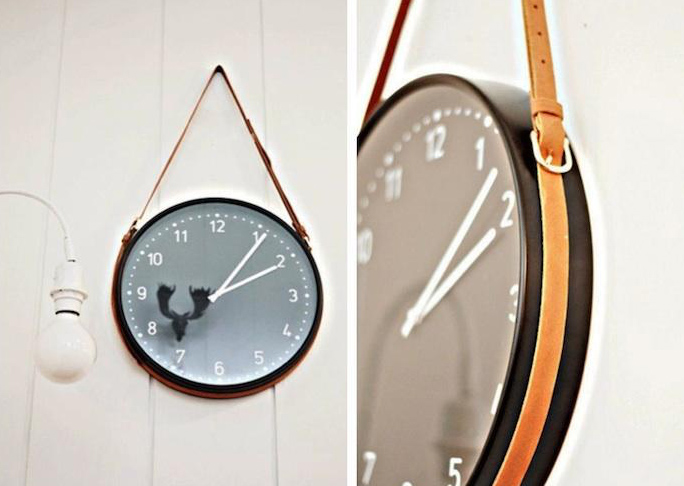 IKEA Clock with Leather Belt Hanger