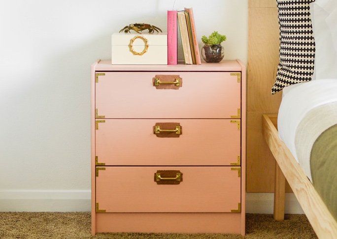Brass and Leather Dresser Makeover