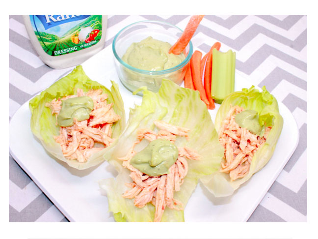 Buffalo Chicken Lettuce Wraps with Avocado Ranch Dressing