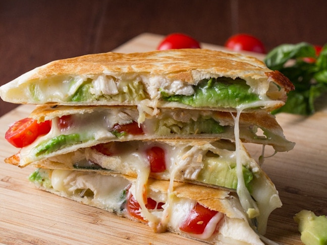 Chicken and Avocado Caprese Quesadillas