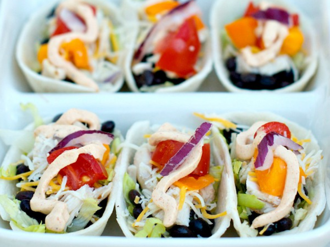Mini Chicken Taco Boats With Jalapeno Greek Yogurt Dip