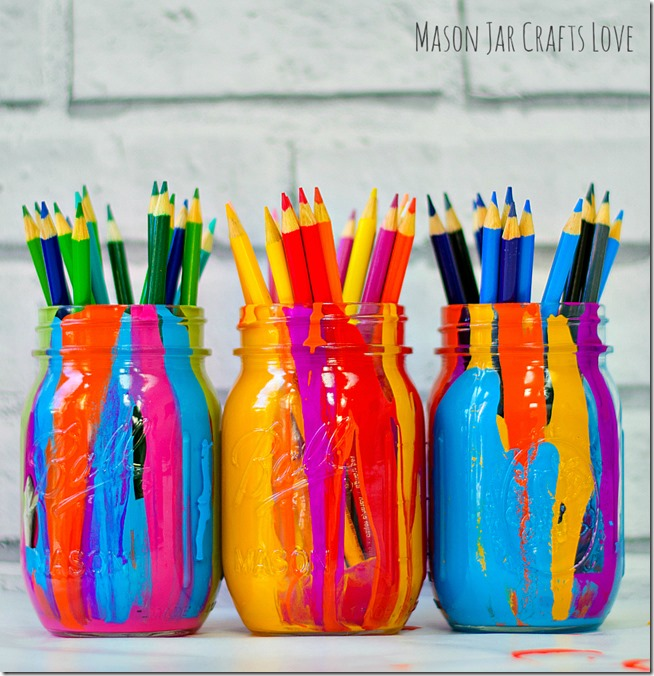Make Super Easy Paint Dripped Jars
