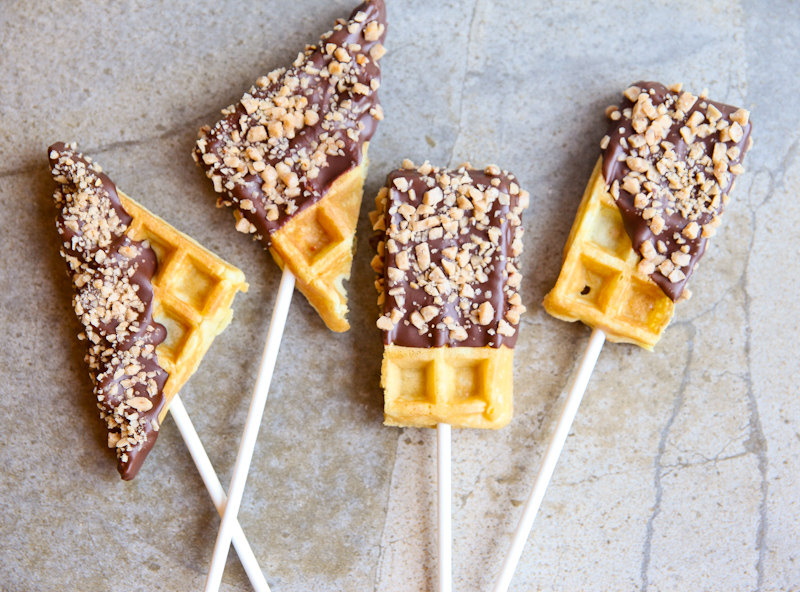 Chocolate Dipped Waffles on a Stick