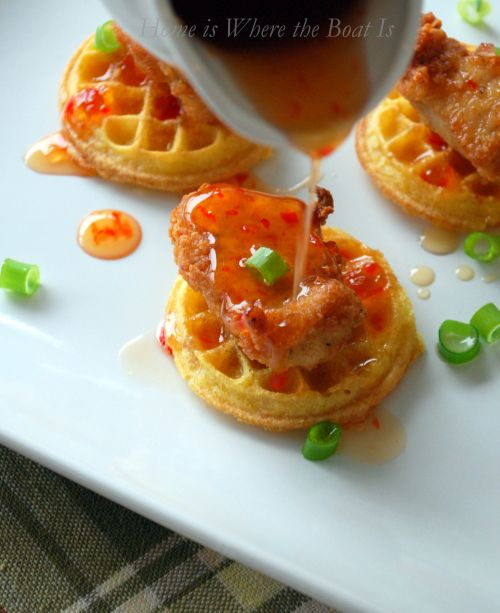 Chicken and Waffles with Pepper Jelly Syrup