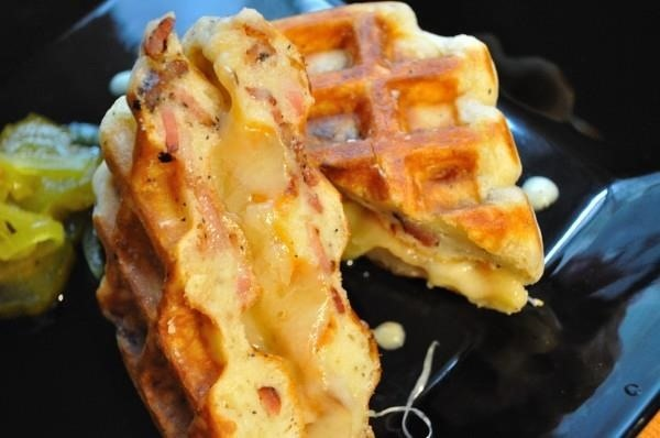 Bacon Waffle Grilled Cheese Therapist