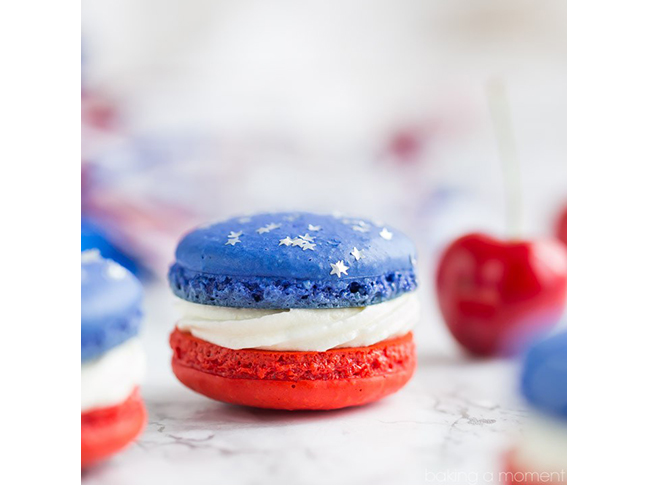 Red, White, & Blue Macarons
