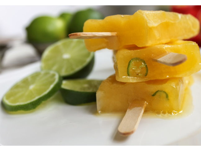 Mango and Tequila Popsicles With Serrano Peppers