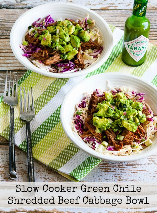 Green Chile Shredded Beef Cabbage Bowl