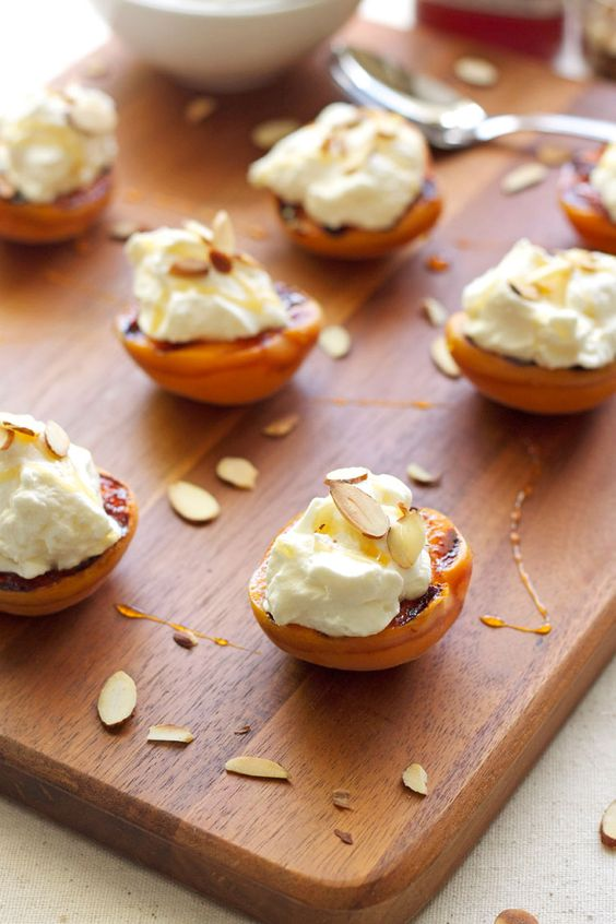Grilled Apricots with Almond Whipped Cream