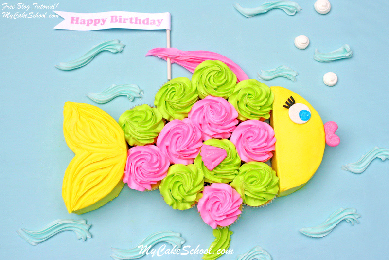 Group cupcakes together for an adorable fish birthday cake.