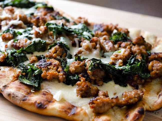 Grilled Kale and Sausage Pizza