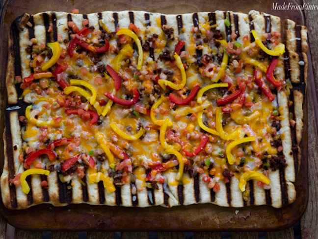 Grilled Flatbread Pizza with Chorizo and Peppers