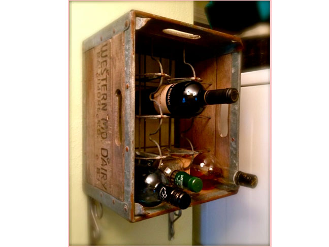 Upcycled Wooden Milk Crate Wine Rack