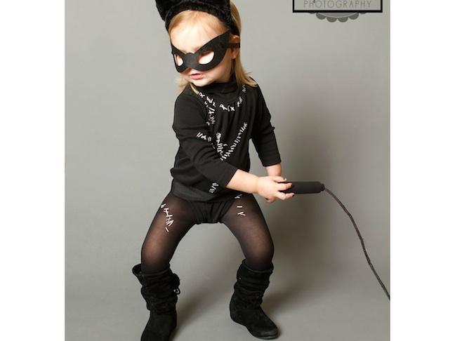 Toddler Catwoman with a Whip