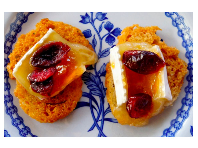 Apricot Cranberry Brie Crostinis