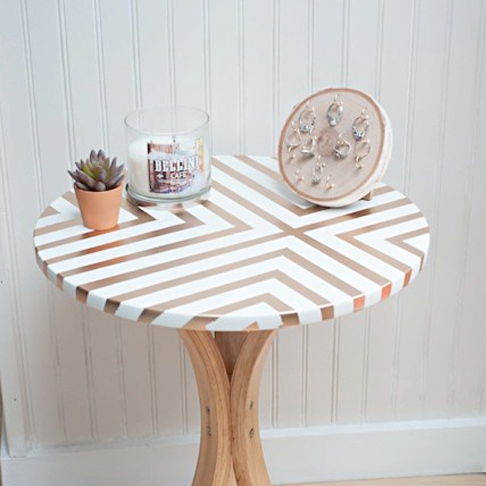 Gold Patterned Side Table from Dwell Beautiful