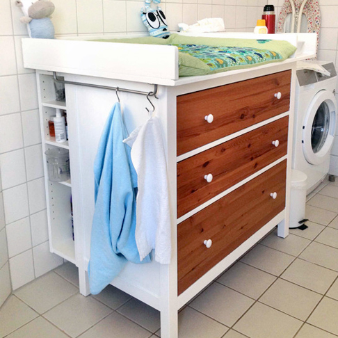 Wood and White Changing Table from Ikea Hackers
