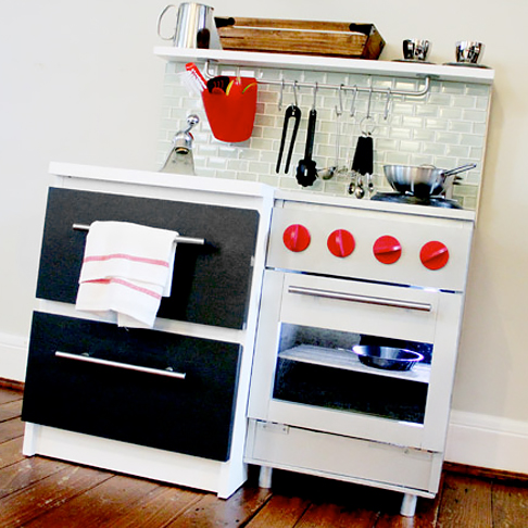 Gender Neutral Play Kitchen Hack from Two Nightstands from Preparing for Peanut