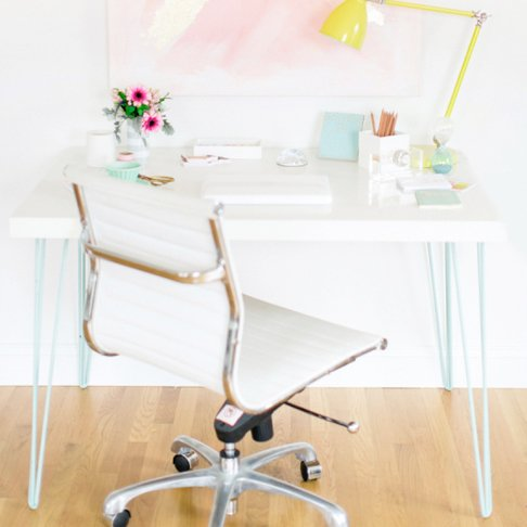 Desk with Colourful Hairpin Legs from Style Me Pretty Living