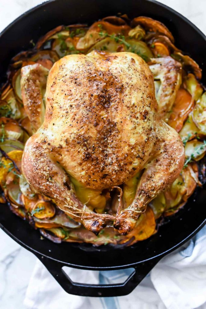 Cast Iron Skillet Whole Roasted Chicken With Potatoes