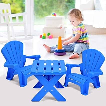 Costzon Kids Plastic Table and 2 Chairs Set