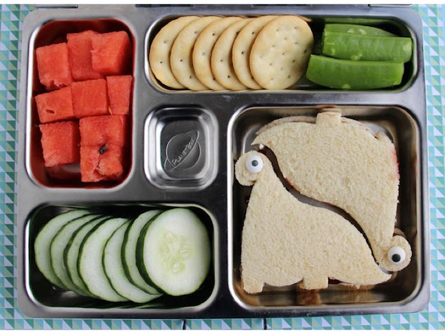 Dinosaur Shaped Sandwich Toddler Lunch