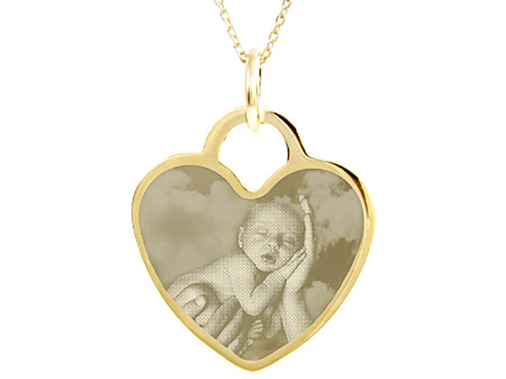 Photo Engraved Heart Charm