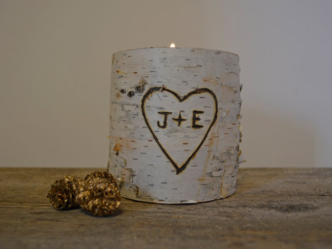 Personalized Birch Candle