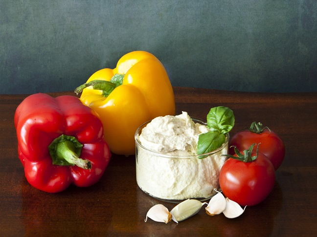 Sliced Peppers and Hummus