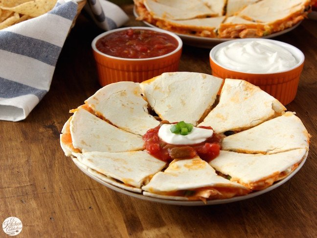 Buffalo Chicken and Black Bean Quesadillas
