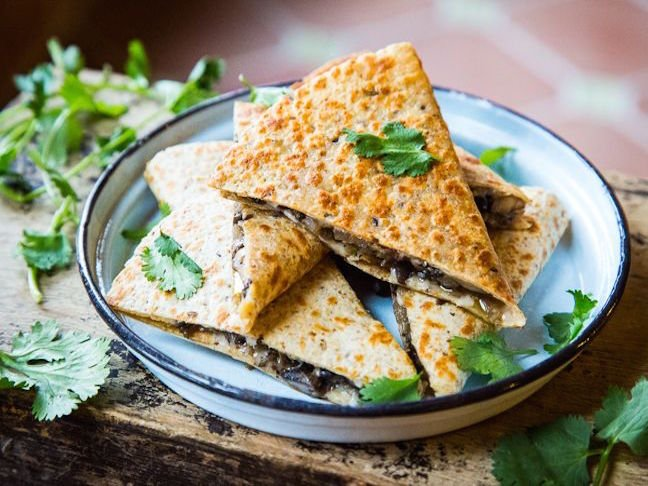 Portobello Mushroom and Asiago Quesadillas