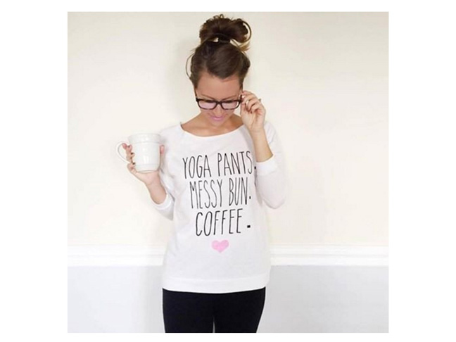 Yoga Pants, Messy Bun, Coffee