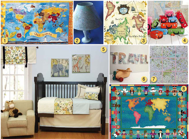 Travel Themed Bedroom For Seasoned Explorers: World Maps, Crib Bedding And Maps
