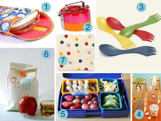 Cute school reusable bags, sporks and containers