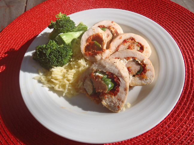 Chicken Roulade With Sun-Dried Tomato, Spinach and Goat Cheese