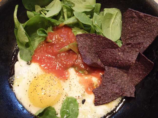 Two Min Egg and Spinach Nachos