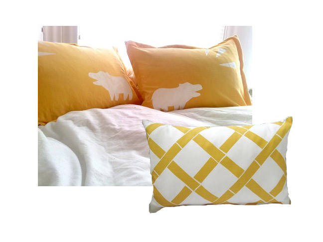 Yellow Geometric Pillows