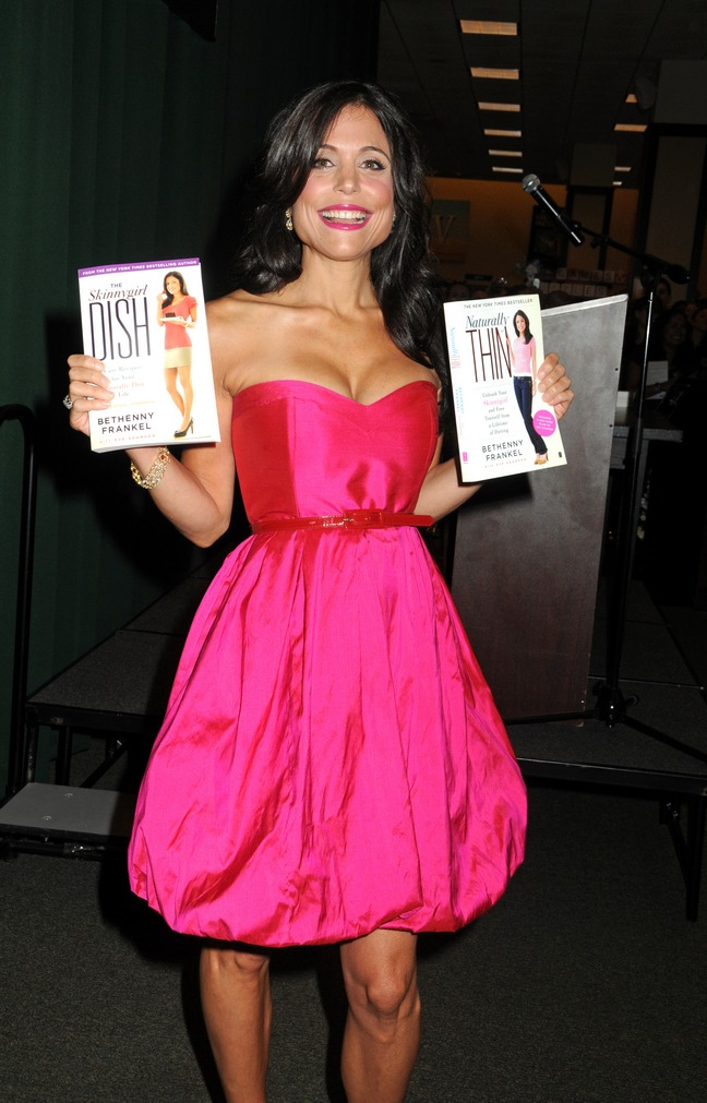 Bethenny Frankel, Pink dress, holding book