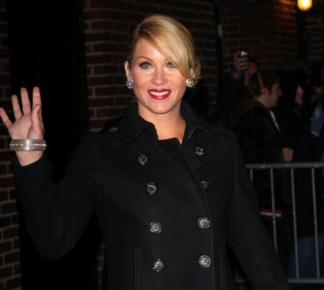 Christina Applegate, black wool trench coat