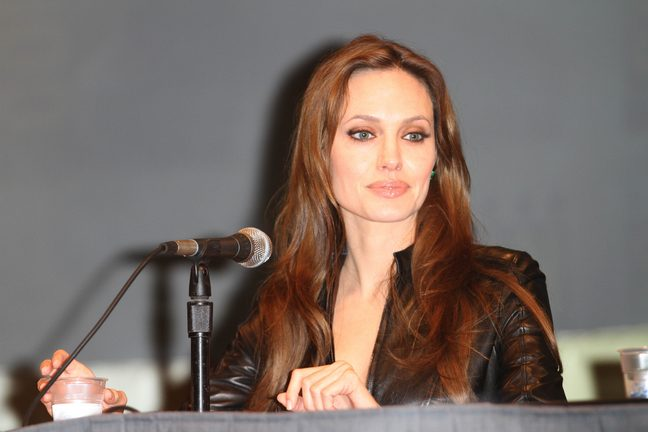 Angelina Jolie, black leather jacket, black skirt,